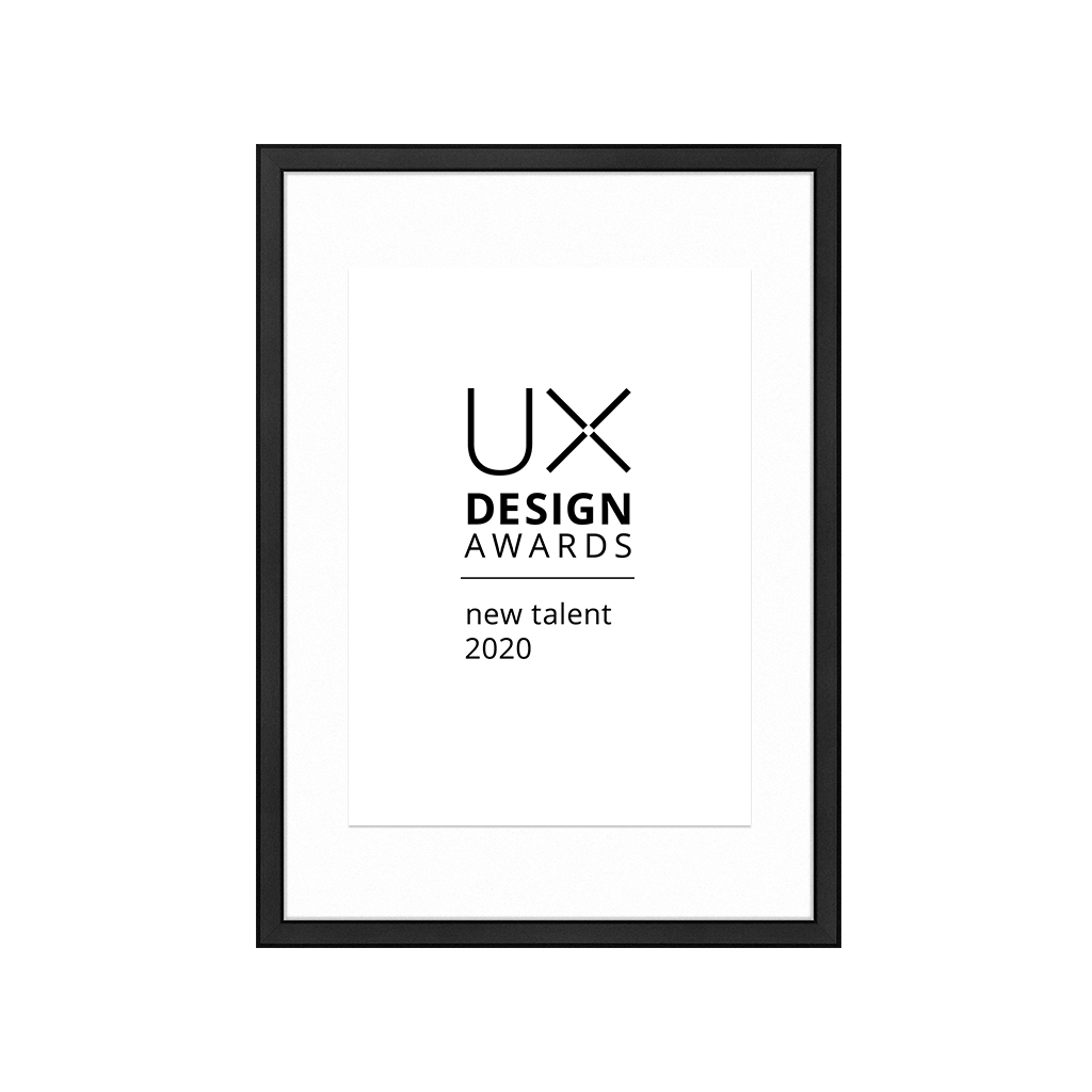 International Winner UX Design Awards 2020 New Talent